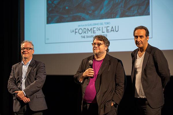 Thierry Frémaux, Guillermo Del Toro et Alexandre Desplat
